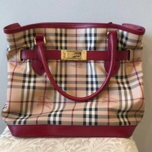 Burberry Haymarket Check Coated Golderton Tote Red